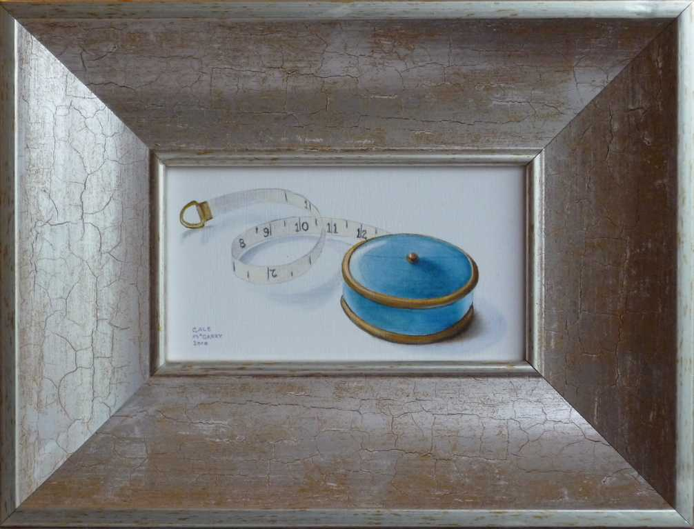 Realist oil painting of victorian tape measure
